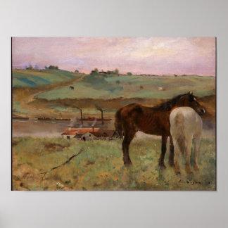 Horses in a Meadow Degas Fine Art Print