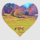 Horses in a Rainbow Colored Field Heart Sticker