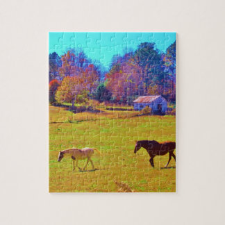 Horses in a Rainbow Colored Field Puzzles
