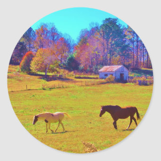 Horses in a Rainbow Colored Field Round Stickers