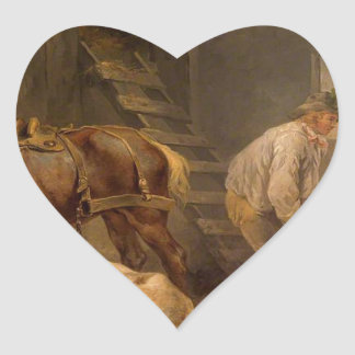Horses in a Stable by George Morland Heart Sticker
