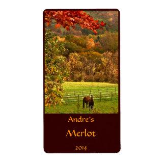 Horses in Autumn Animal Wine Label