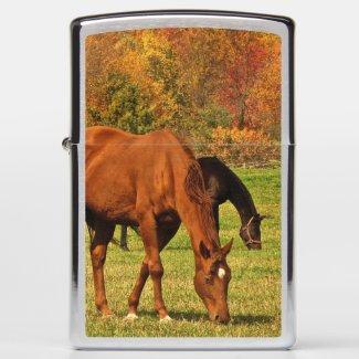 Horses in Autumn Animal Zippo Lighter
