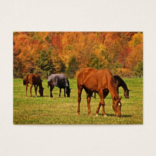Horses in Autumn ATC Business Card