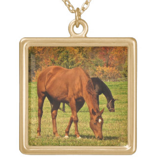 Horses in Autumn Gold Plated Necklace