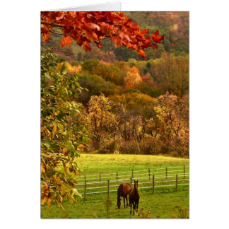 Horses in Autumn Thanksgiving Card