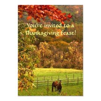 Horses in Autumn Thanksgiving Invitation