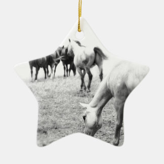 Horses in Black and White 2 Photography Ceramic Ornament