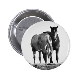 Horses in Black and White Button Badge Button