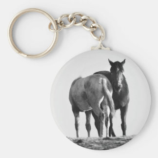 Horses in Black and White Key Chain