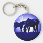 Horses in Blue Night Basic Round Button Keychain