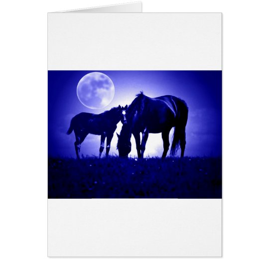 Horses in Blue Night Card