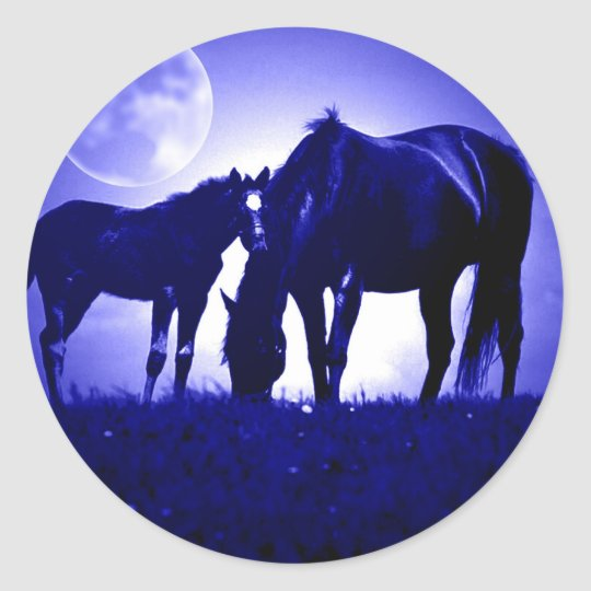 Horses in Blue Night Classic Round Sticker
