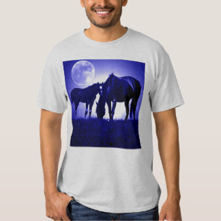 Horses in Blue Night Shirt