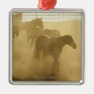 Horses in corral metal ornament