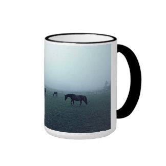 Horses in fog ringer coffee mug