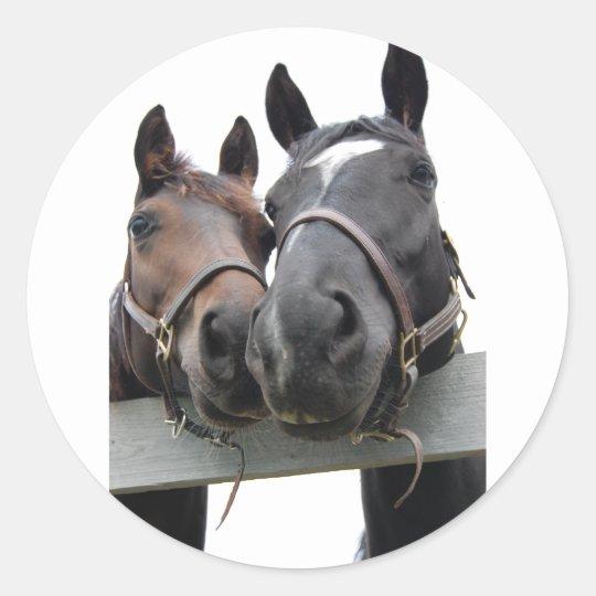 Horses in Love Classic Round Sticker