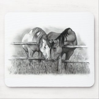HORSES IN LOVE: PENCIL REALISM MOUSE PAD