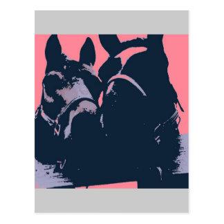 Horses in Love Pop Art Postcard