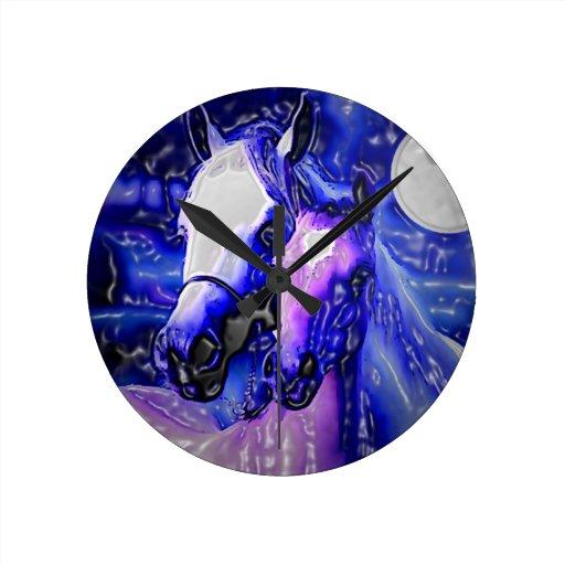 Horses in Love Round Clocks