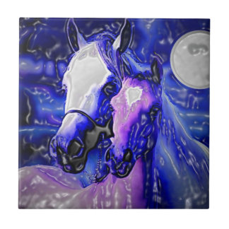 Horses in Love Small Square Tile