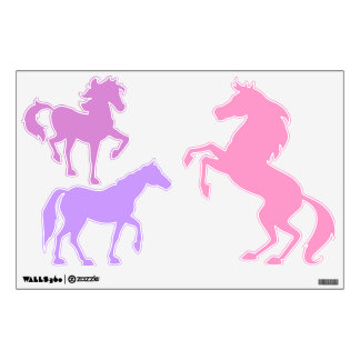 Horses in Purple and Pink - wall decals