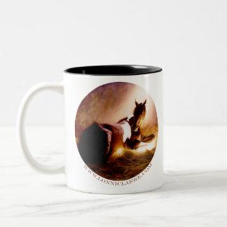 Horses in Repose Two-Tone Coffee Mug