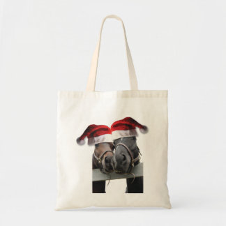 Horses in Santa Claus Hats Tote Bag