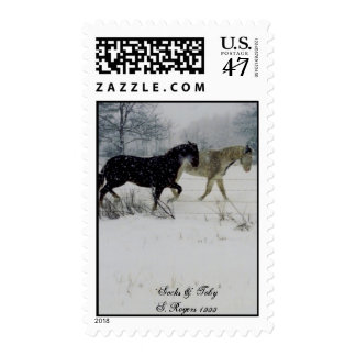 Horses in Snow Postage