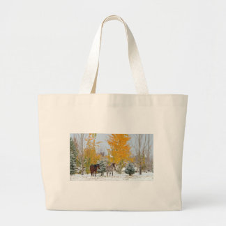 Horses in Snow with Colored Tree Canvas Bags
