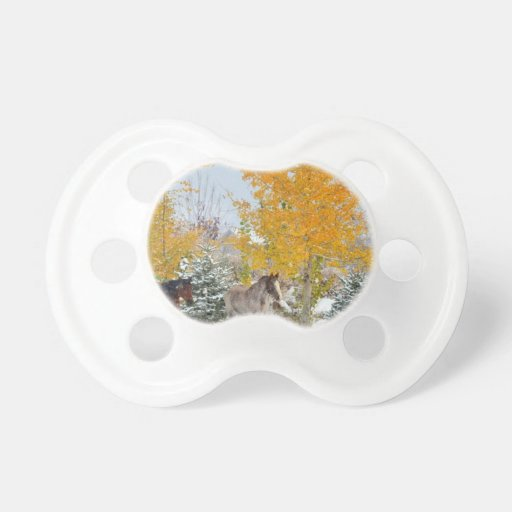 Horses in Snow with Colored Tree BooginHead Pacifier