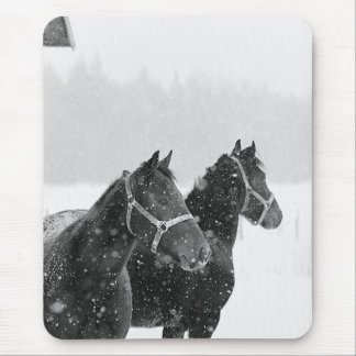 Horses in Snowfall Mouse Pad