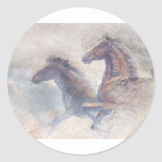 Horses In Stampede Classic Round Sticker