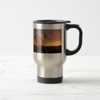 Horses in Sunrise 15 Oz Stainless Steel Travel Mug