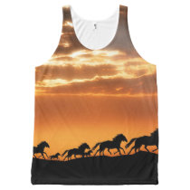 Horses in sunset All-Over-Print tank top