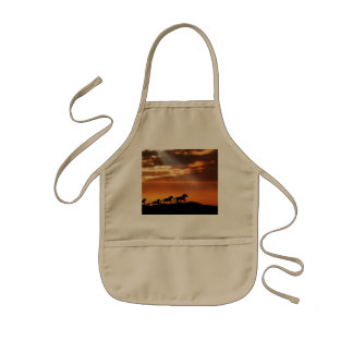 Horses in sunset kids' apron