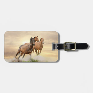 Horses In Sunset Bag Tags