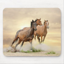 Horses In Sunset Mouse Pad