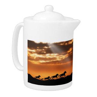 Horses in sunset teapot