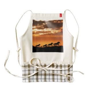 Horses in sunset zazzle HEART apron