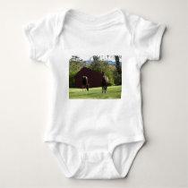 Horses in the field baby bodysuit