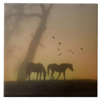 Horses in the Mist Art Tile