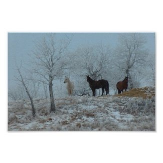 Horses in the Mist print