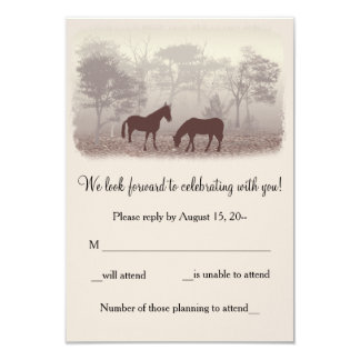 Horses In The Mist Wedding RSVP, Reply Notes Personalized Invitations