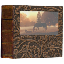 "Horses in the Morning Fog-2"" 3 Ring Binder"