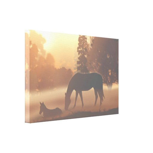 Horses in the Morning Fog Canvas Print