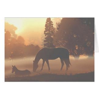 Horses in the Morning Fog Card