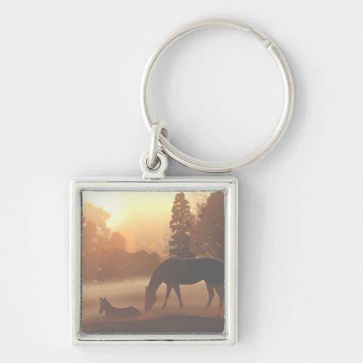 Horses in the Morning Fog Key Chain