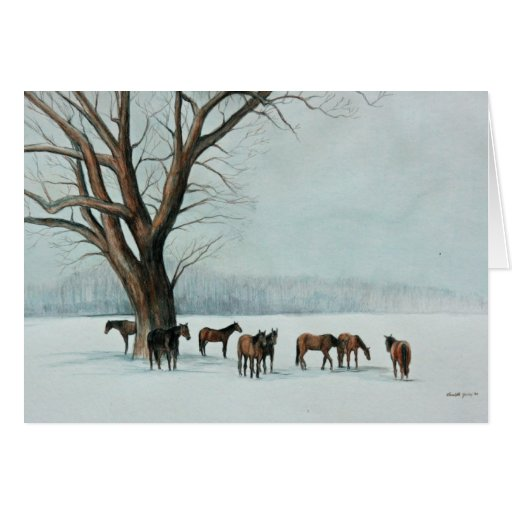 Horses in the Snow Art Notecard