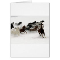 Horses in the snow card